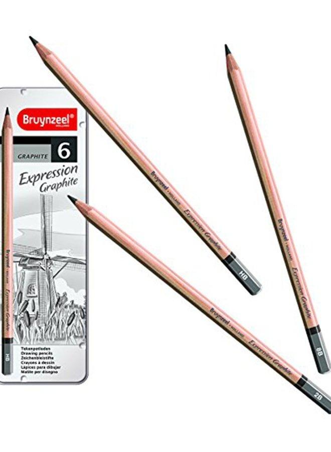Bruynzeel Expression graphite pencils 6 stuks