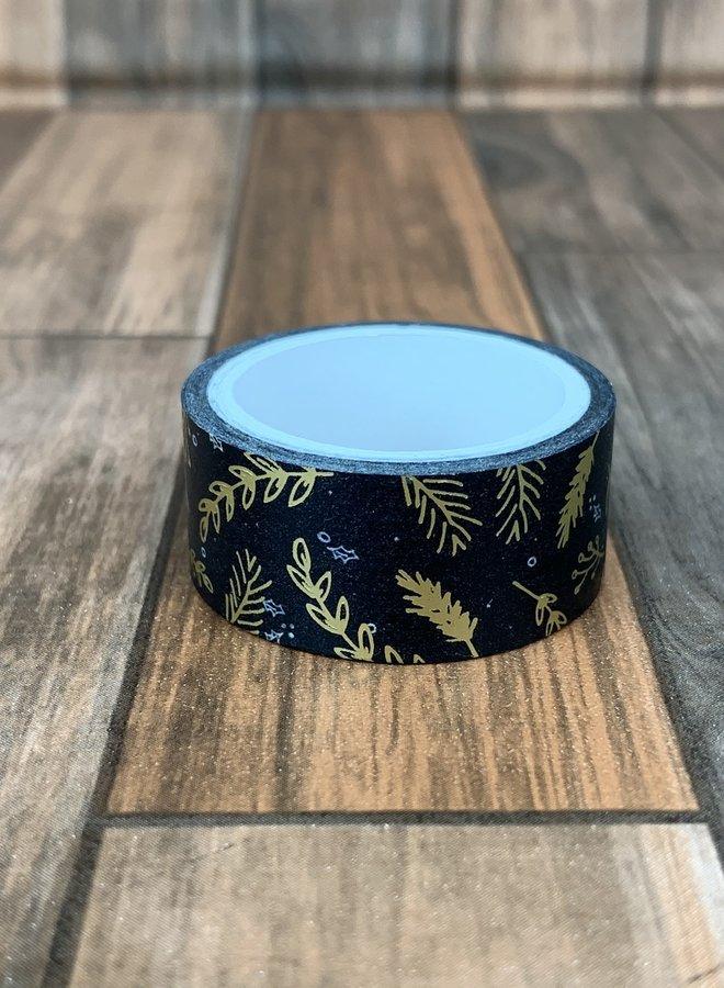 Washi tape I Goud zwarte blad - Breed