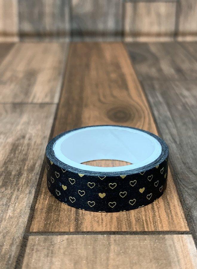Washi tape I Goud zwarte Hartjes