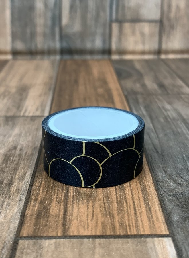 Washi tape | Goud zwarte cirkel