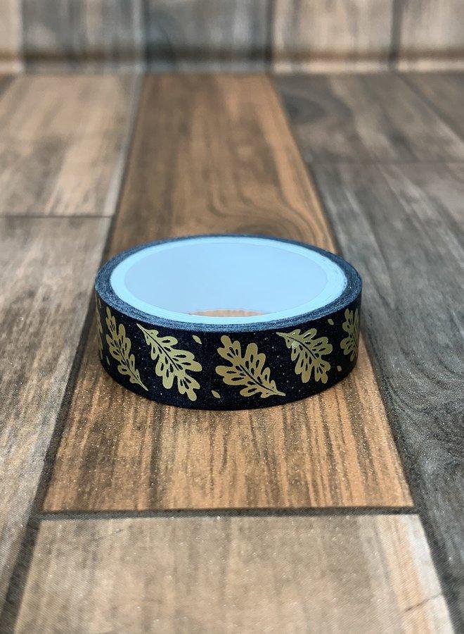 Washi tape | Zwart, goud blad