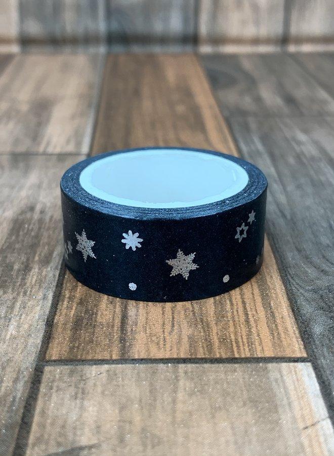 Washi tape | Zilver zwarte sterren