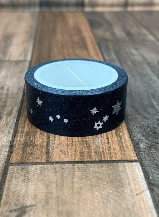 Washi tape I Zilver zwarte sterren