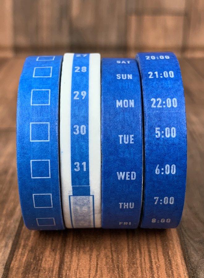 Washi tape | Blauw wit planning - Set