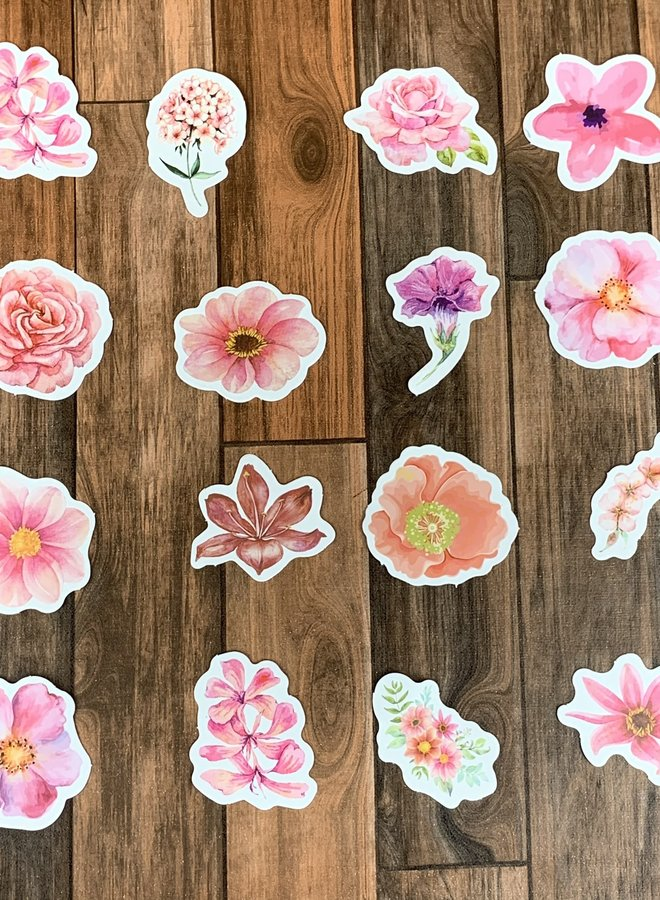 Stickers | Roze bloemen