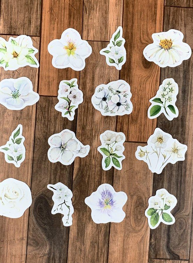 Stickers I Witte bloemen