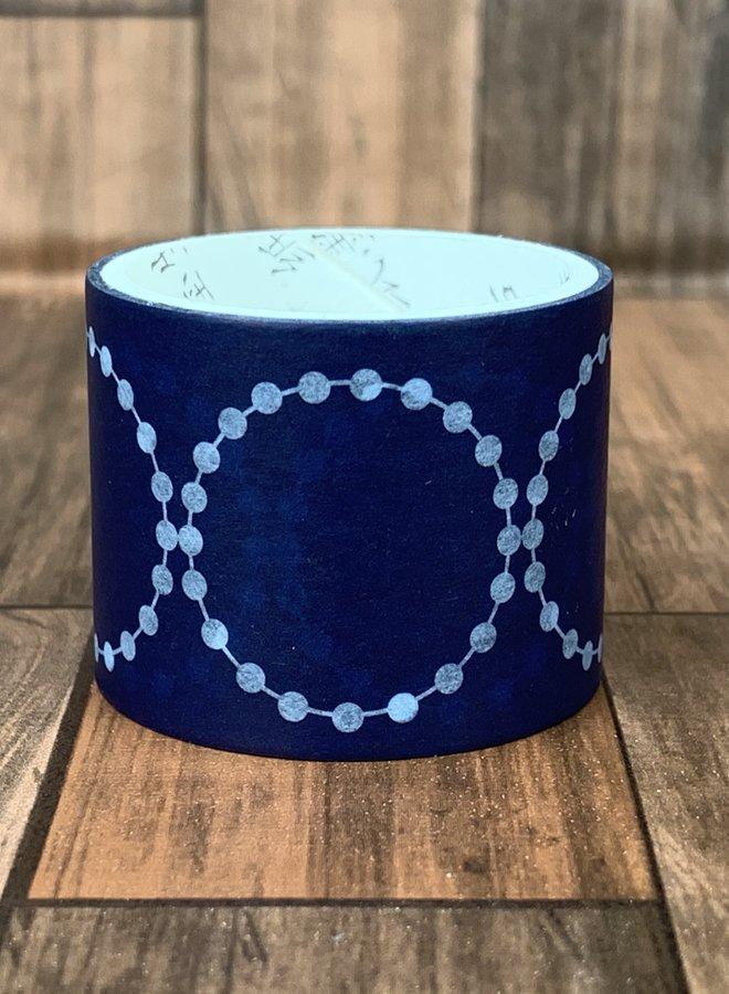 Washi tape l Donker blauw circle - Breed