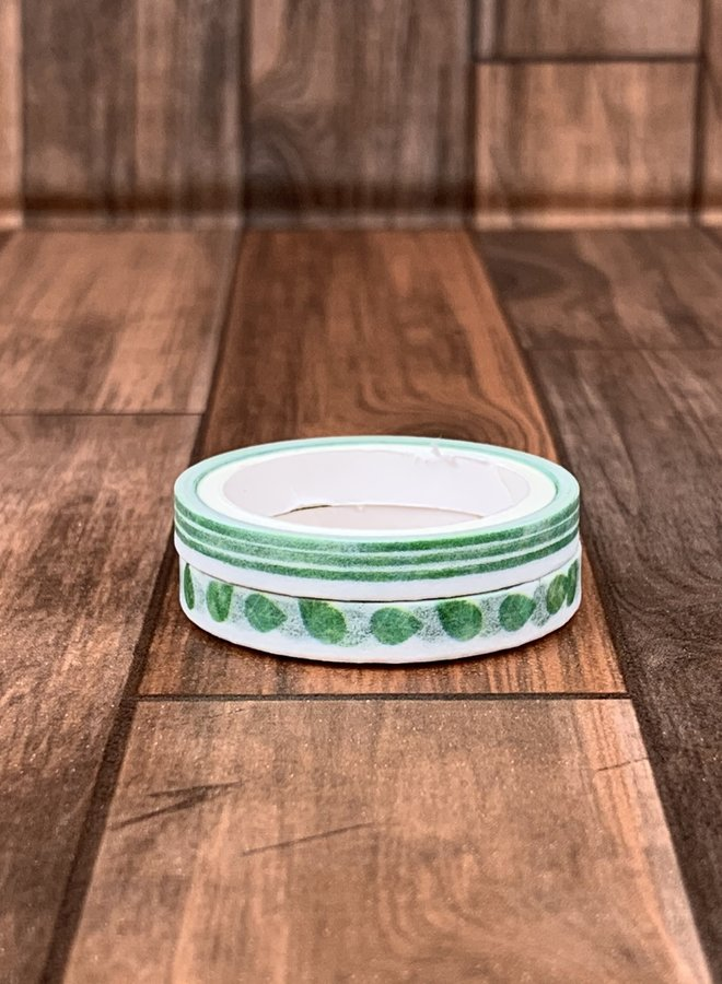 Washi tape clip | Groene blaadjes - Set