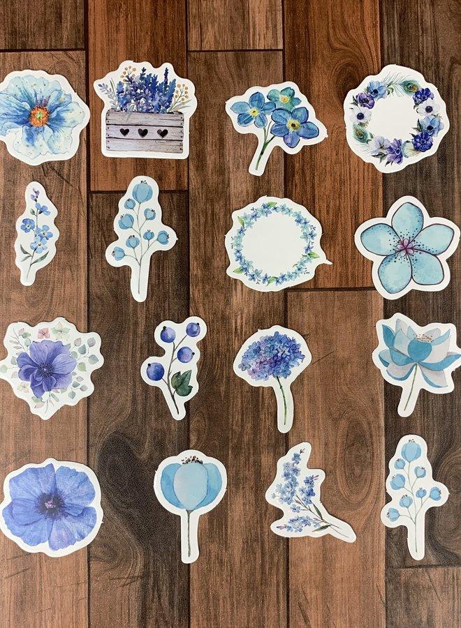 Washi tape | Blauwe bloemen