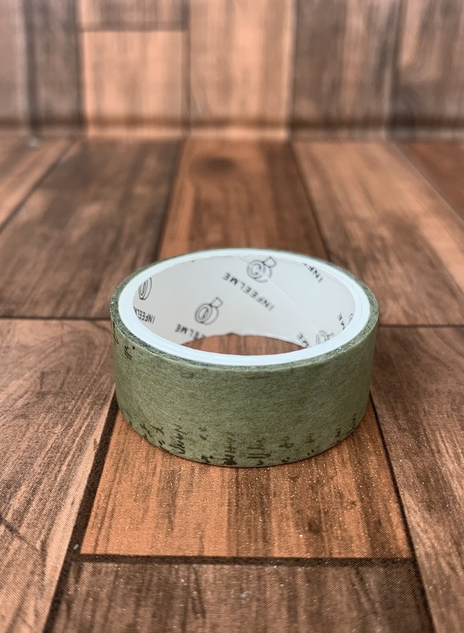 Washi tape   Vintage donker groen tekst