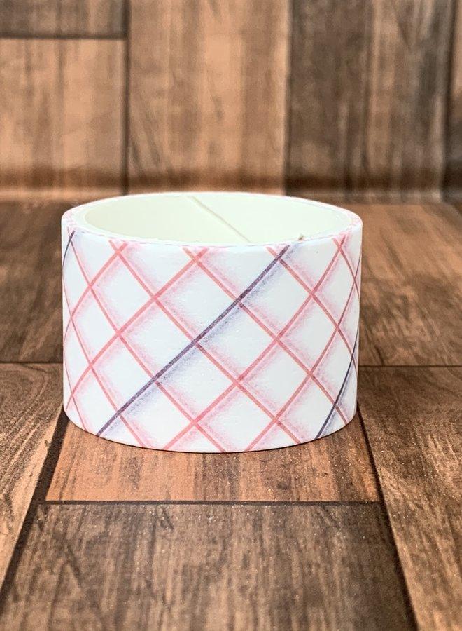 Washi tape | Roze ruiten - Breed