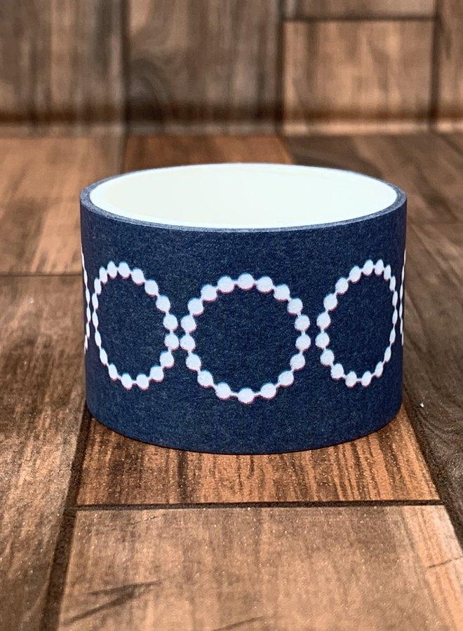 Washi tape   Blauw witte rondjes - Breed