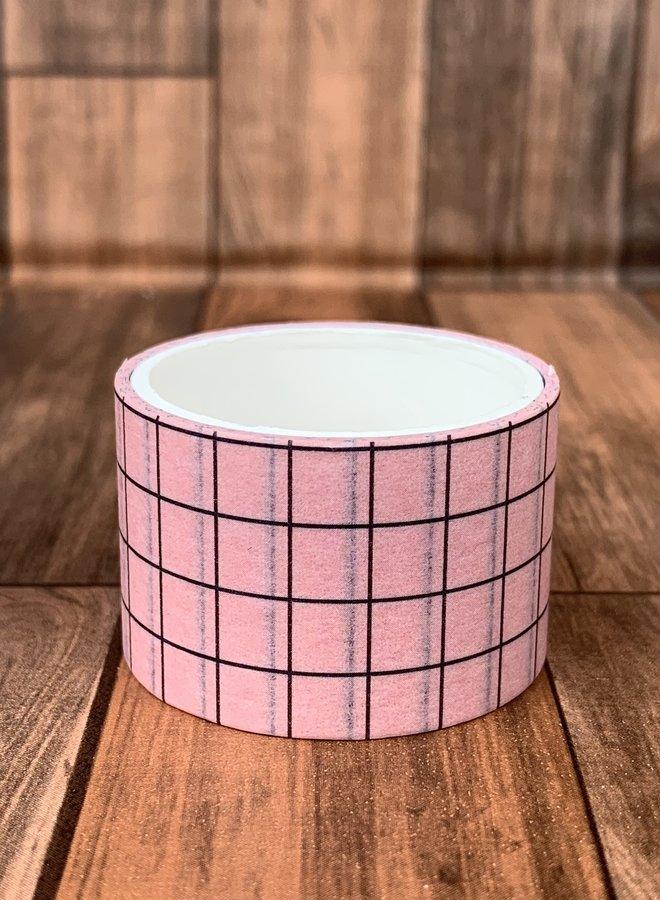 Washi tape | Roze, zwarte ruiten - Breed