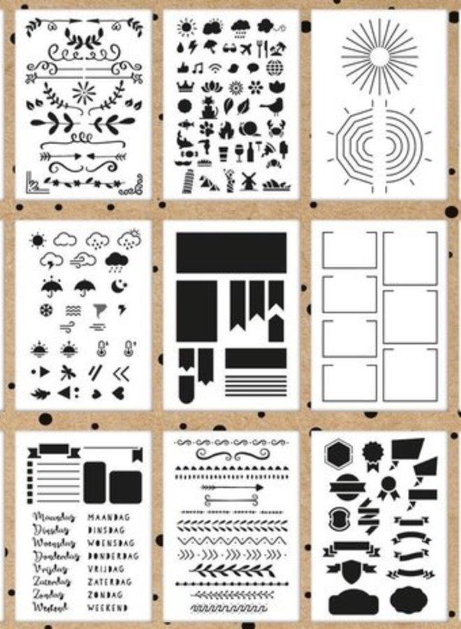 Mijn Bullet Journal | Stencil - set