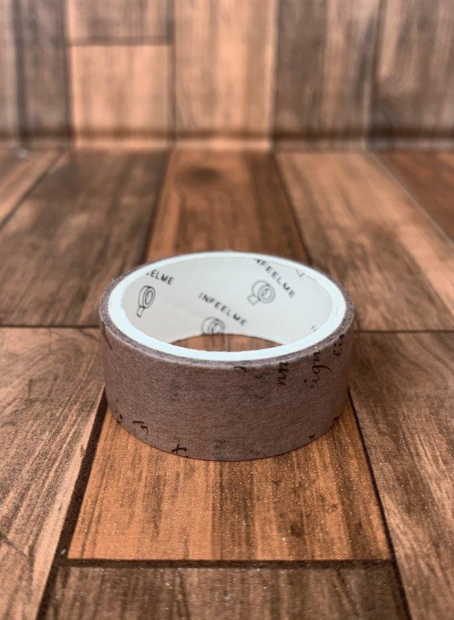 Washi tape l Vintage donker bruin tekst