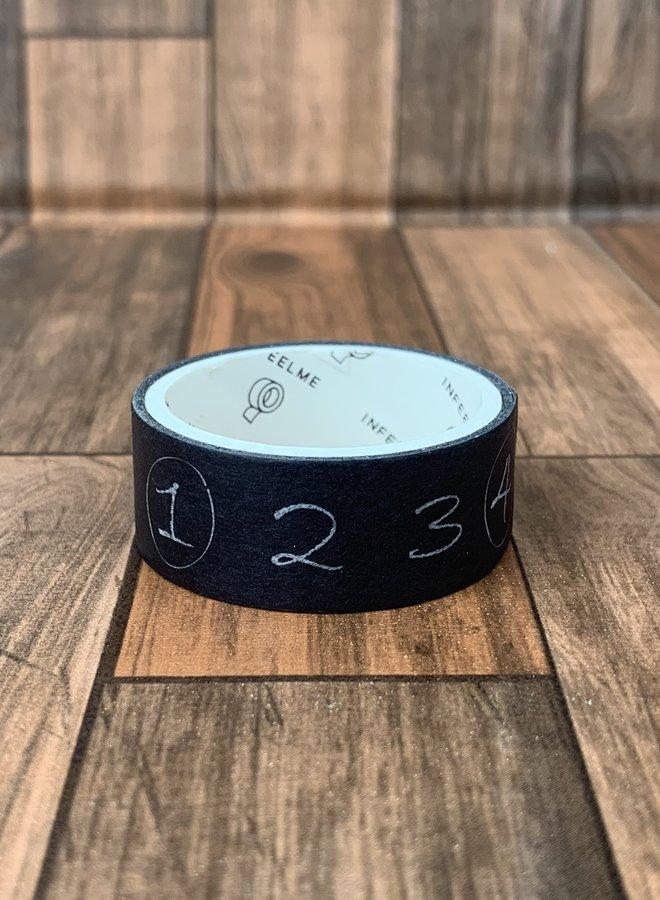 Washi tape clip | zwart met krijt cijfers