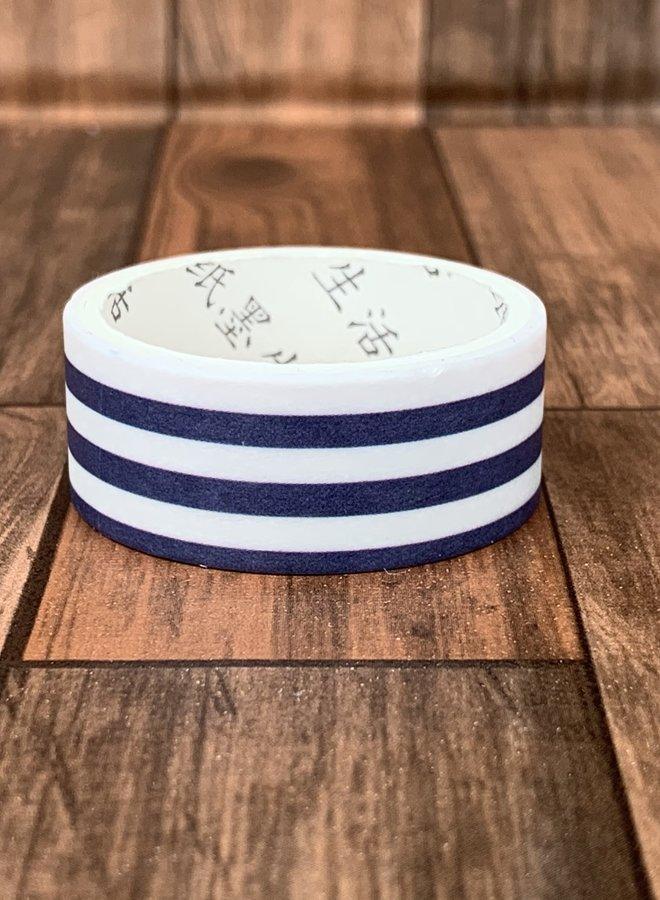 Washi tape l Wit en blauwe strepen Horizontaal