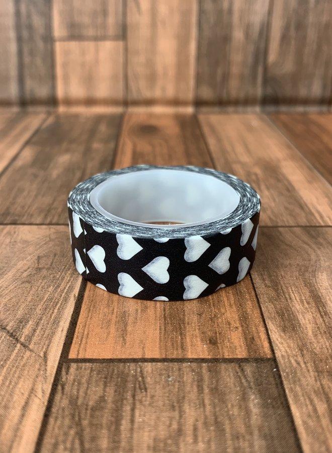 Washi tape | Zwart witte harten