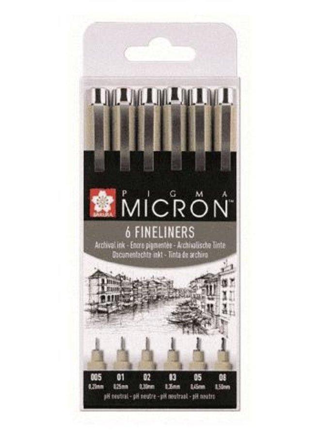 Micron | 6 Fineliners zwart