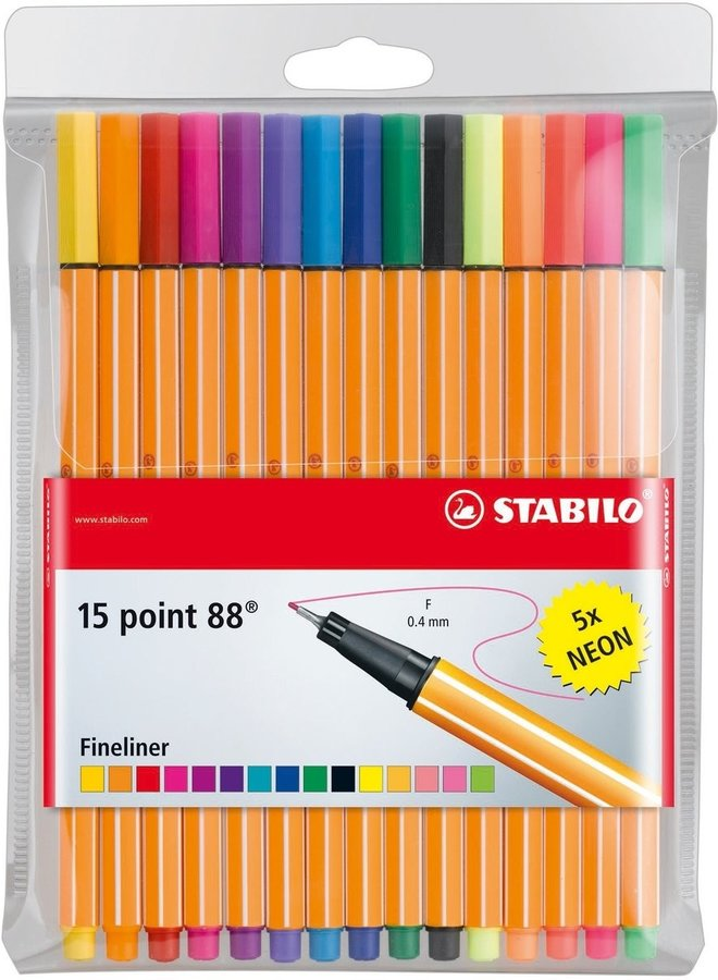 Stabilo | 15 kleuren point 88 fineliners - Set