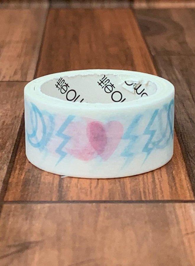 Washi tape I blauw roze symbolen