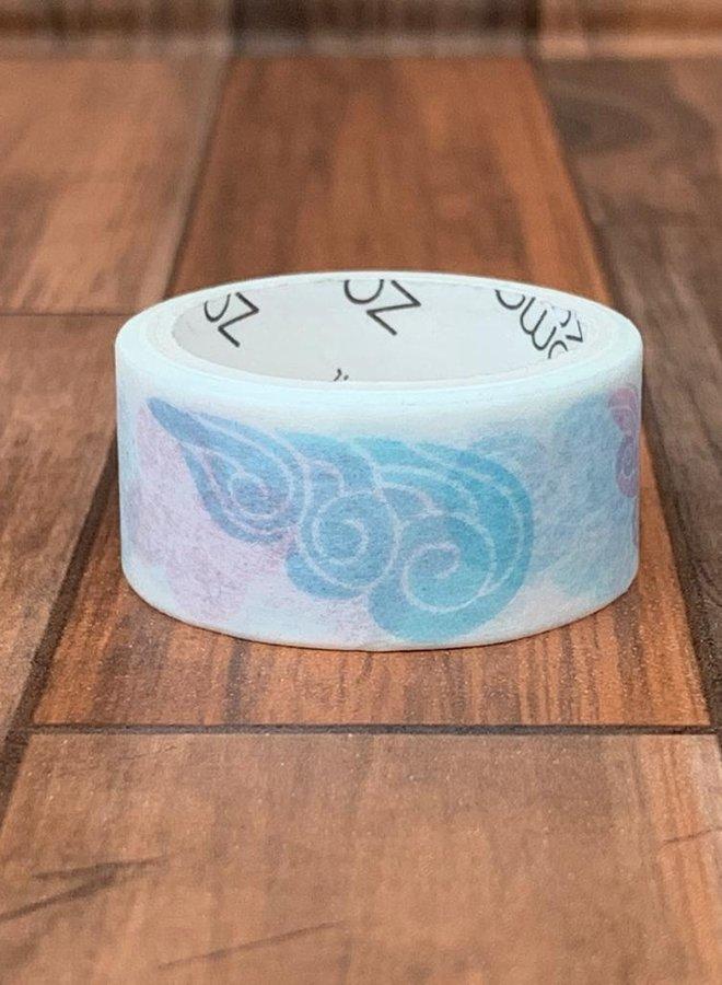 Washi tape | Blauw roze wolken