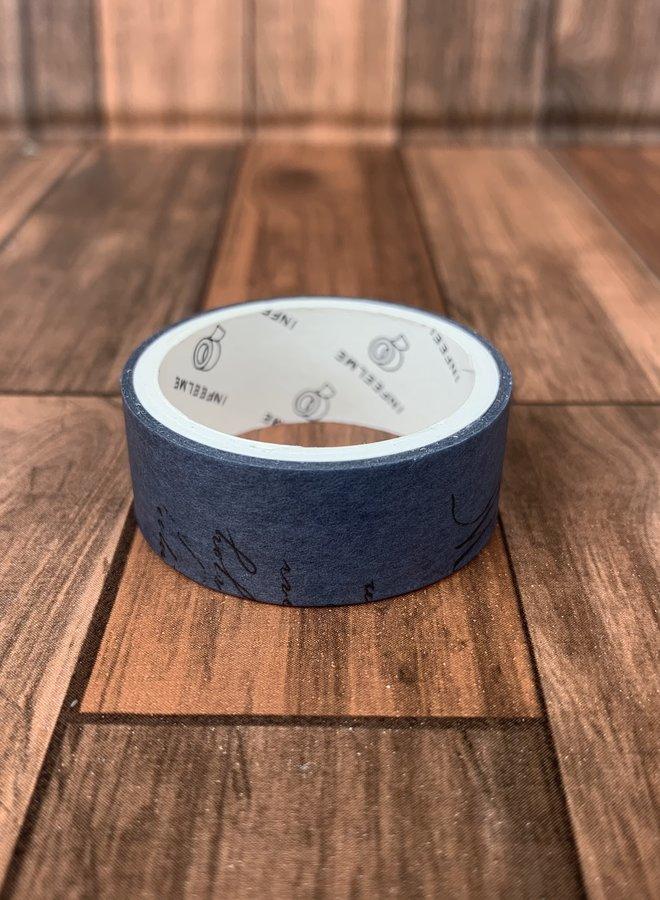 Washi tape l Vintage donker blauw tekst