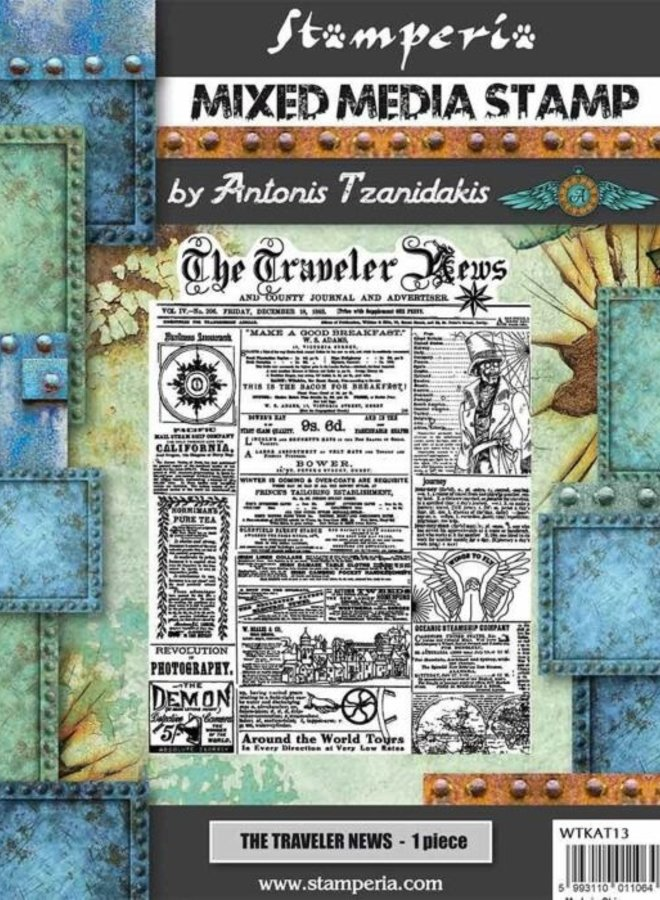 Stamperia | The traveler news rubber stempel- A5