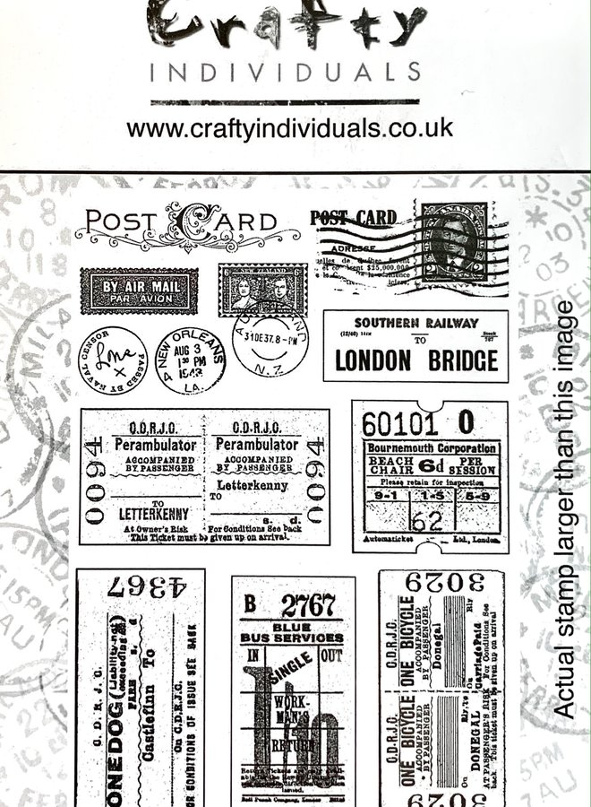 Crafty individuals | Vintage tickets rubber stempels  - 239
