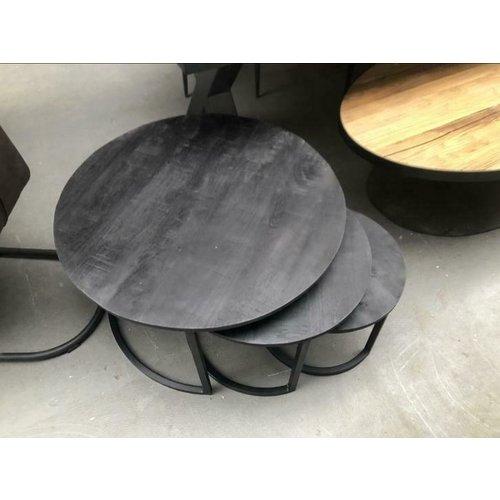 Salontafels set van 3 zwart