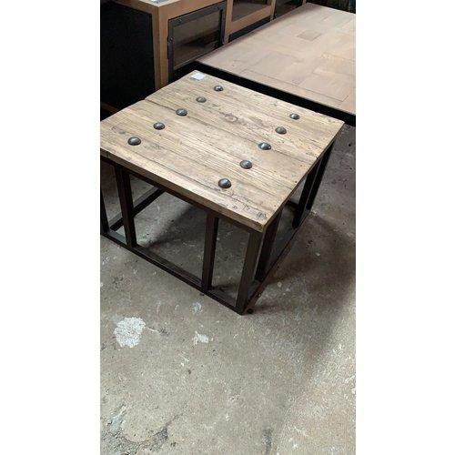 Salontafel vierkant robuust hout metaal WK Home Amersfoort