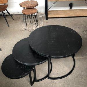 Salontafel zwart set van 3 Kala