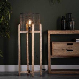 Vloerlamp mesh kap support - houten frame