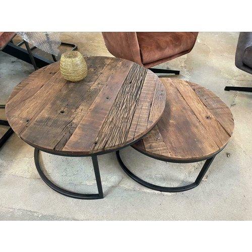 Salontafel set van 2 rond - oud hout
