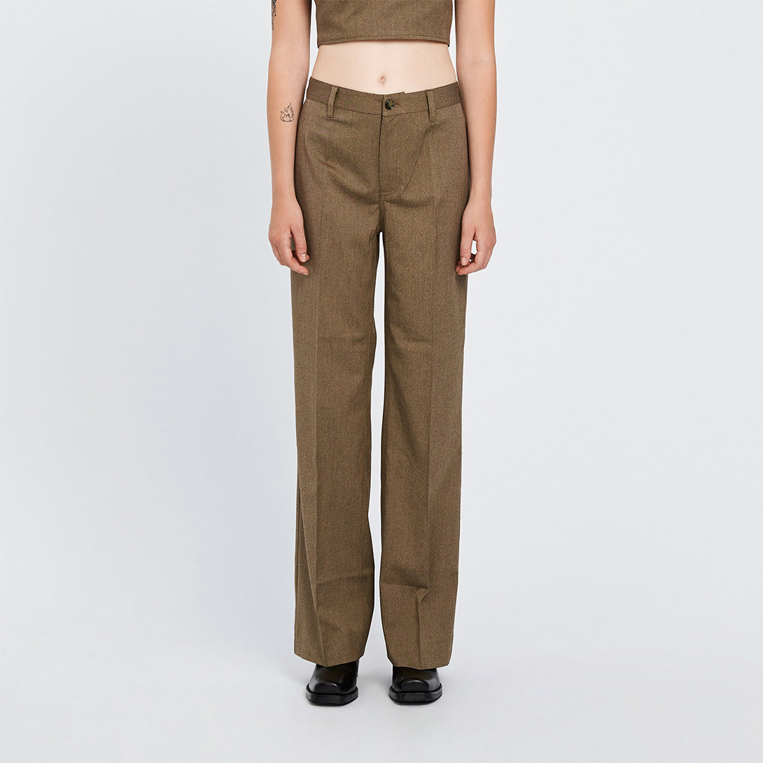 Kelis Trousers - Brown Melange-1