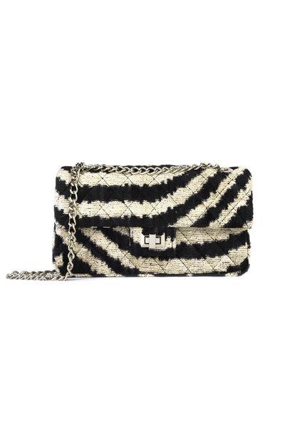 Velvet Bandita Bag - Zebra