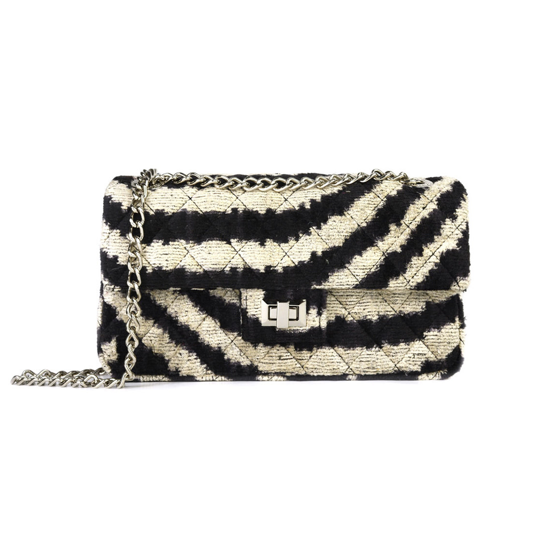 Velvet Bandita Bag - Zebra-1
