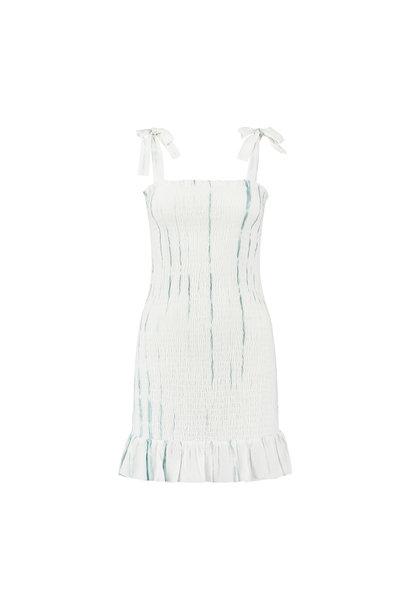 Arya Dress - White-Blue