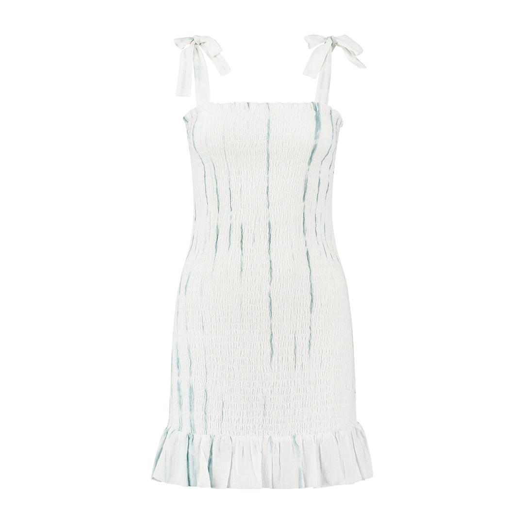 Arya Dress - White-Blue-1