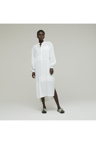 Cotton Dress with Lacing - Ivory