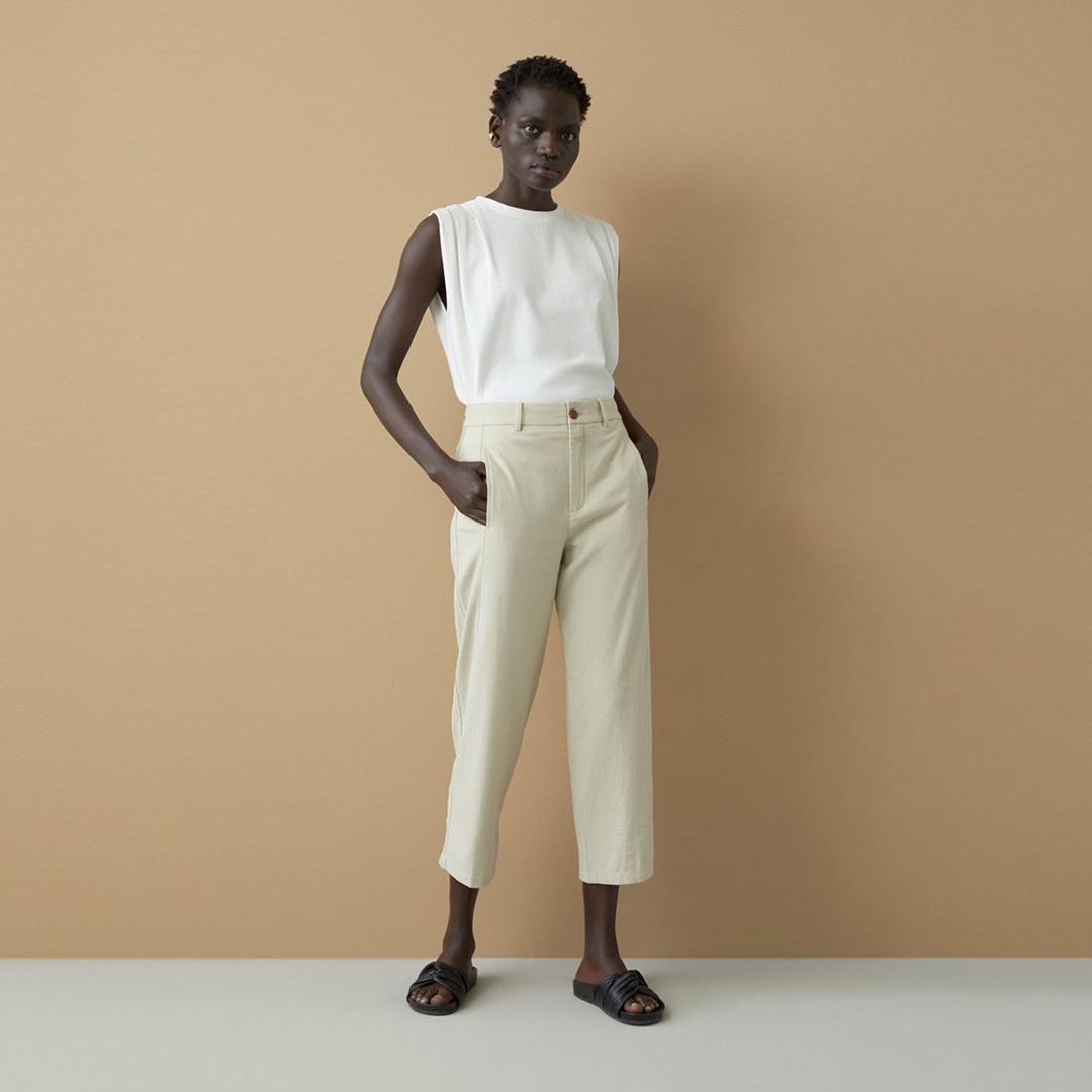 Linen Cotton Blend Pants - Shiitake-1