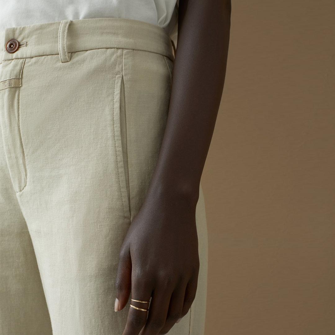 Linen Cotton Blend Pants - Shiitake-2