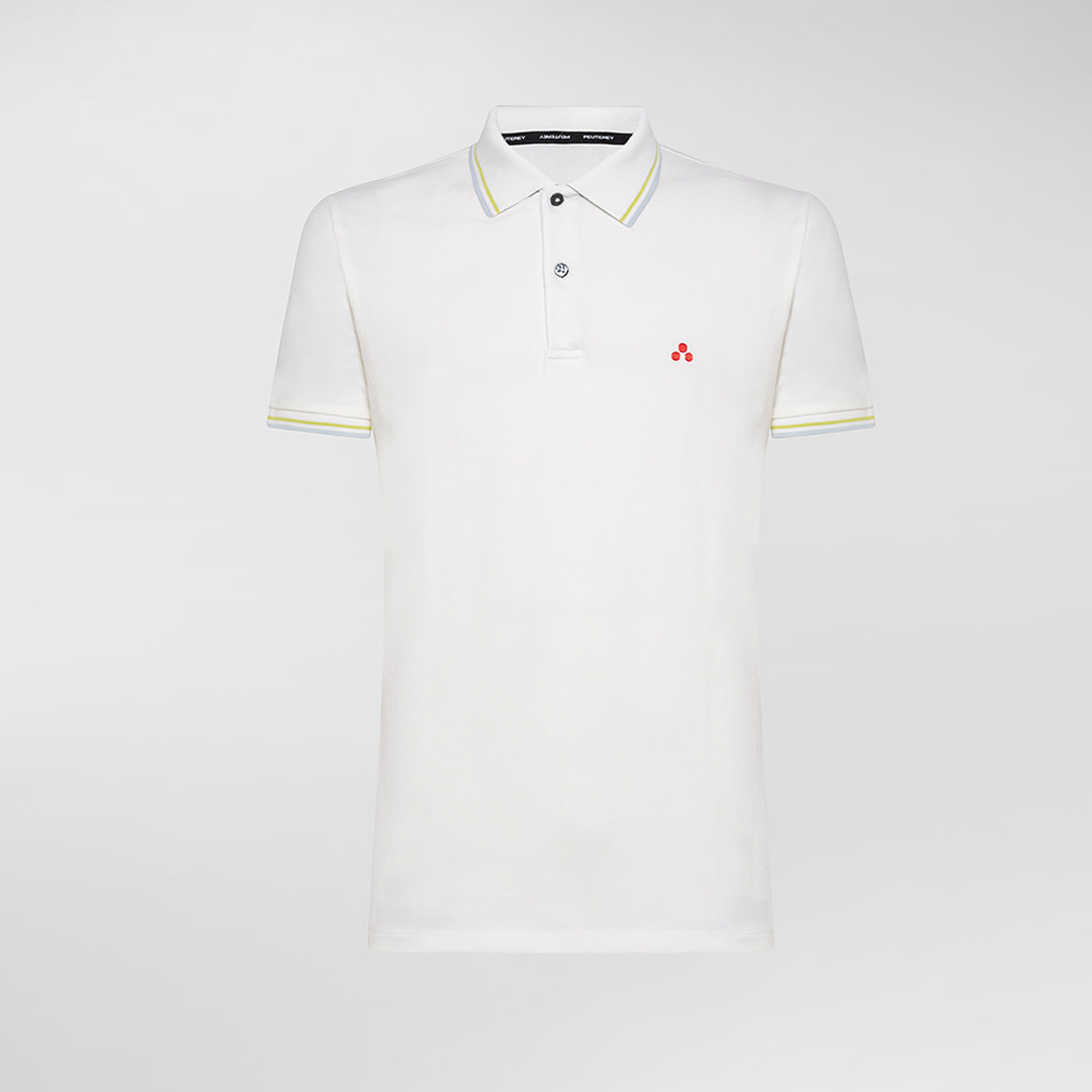 Polo T-shirt In Stretch Cotton - White-1