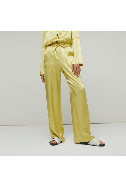 Satin Wide Leg Pantalon - Strong Mustard