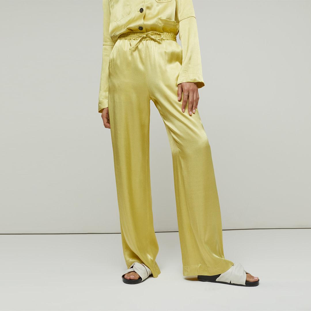 Satin Wide Leg Pantalon - Strong Mustard-1