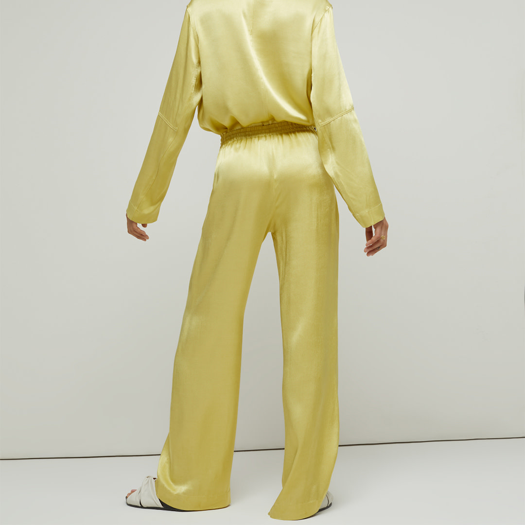 Satin Wide Leg Pantalon - Strong Mustard-2