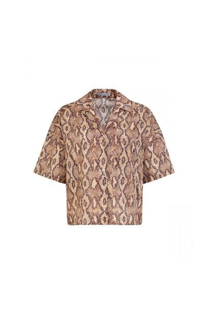 Blouse - Snake Print Brown