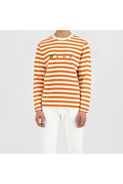 Stripe Sans LS Tee - White / Orange