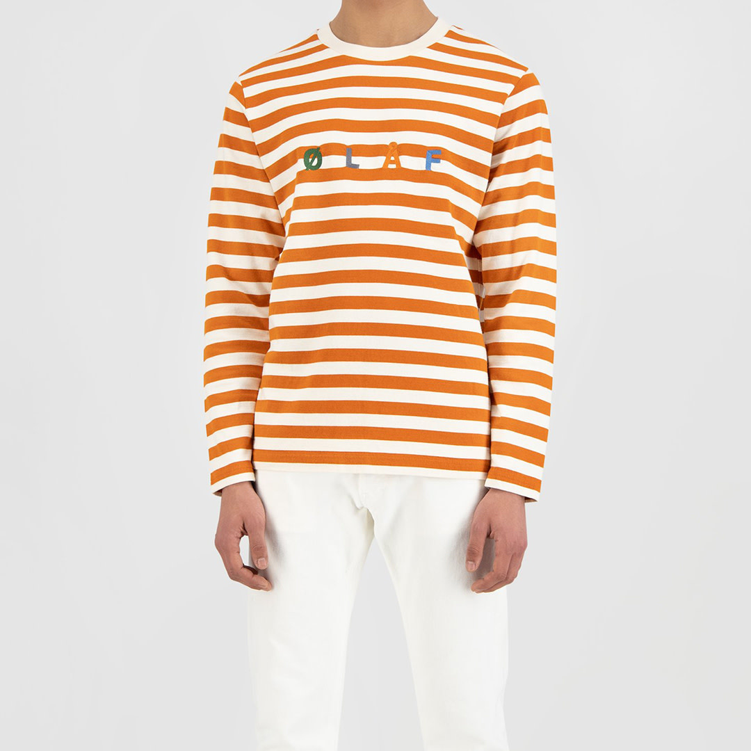 Stripe Sans LS Tee - White / Orange-1