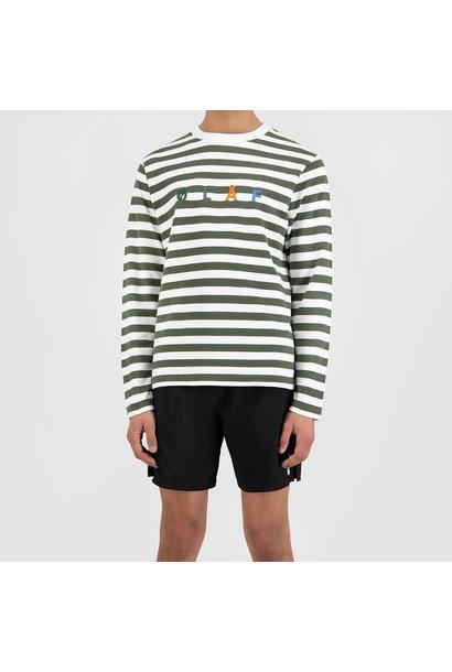 Stripe Sans LS Tee - White / Sage